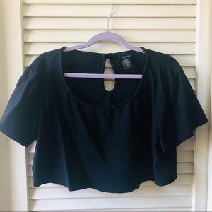 Torrid Black Keyhole Back Short Sleeved Crop Top